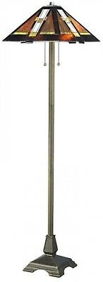Tiffany Style Stained Glass Floor Lamp Mission Handcrafted Modern Bronze Decor