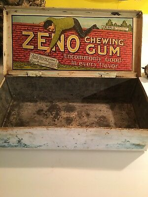 Antique Zeno Pepsin Chewing Gum Tin Litho Country Store Display Candy Box Can
