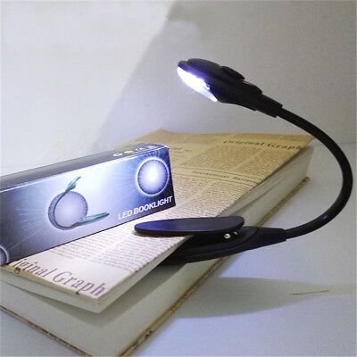 HOT Portable Travel Flexible Neck LED Clamp Clip-On Reading Book Light Lamp EA