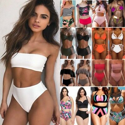 Plus Size Women High Waist Padded Push-up Swimwear Bikini Swim Beachwear Bathing