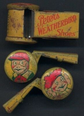 Very Old Tin Lithographed Peters Weatherbird Shoes Advertising Whistle  unused