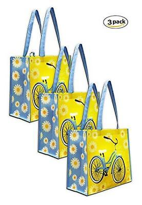Earthwise Reusable Grocery Bag Shopping Summer Beach Tote w/ Bicycle Print (3 Pa