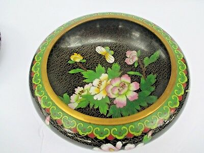 Vintage Chinese Brass Cloisonne Enamel Floral Bowl With Wooden Stand 6968