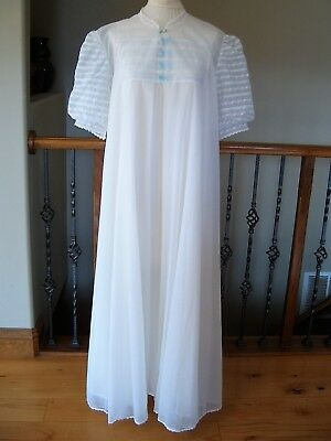 Vintage VANITY FAIR Long Nightgown Peignoir Set Double Chiffon w/Lace - SIZE L