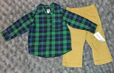 NWT Carters Baby Boy Clothes 12 Months 2 Piece Long Sleeve Shirt Pants Outfit