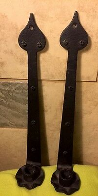 Wall Sconces Wrought Iron Vintage Pair Black Midevil Gothic Door Arrow Spear