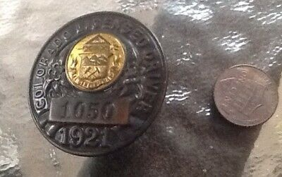 Scarce 1921 Colorado Chauffeur License Pinback Badge