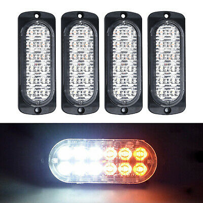 4x Amber Cree 12LED Recovery Strobe Flashing Warning Light Lamps Grill 12V/24V