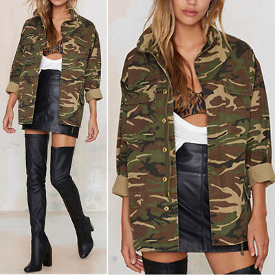 Womens Ladies Vintage Loose Camouflage Coat Army Camo Bomber Jackets Outwear UK
