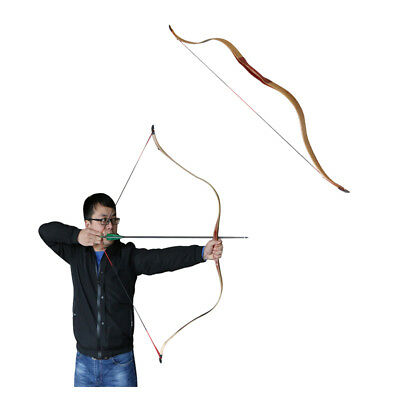 """51"""" Archery Youth Recurve Bow Laminated Bamboo Wood Longbow Hunting Practice Bow"""