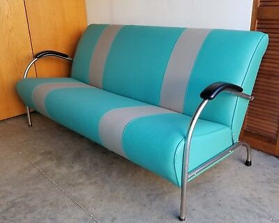 Vintage Tubular Chrome Upholstered Bench Redone in 1957 Chevy Colors