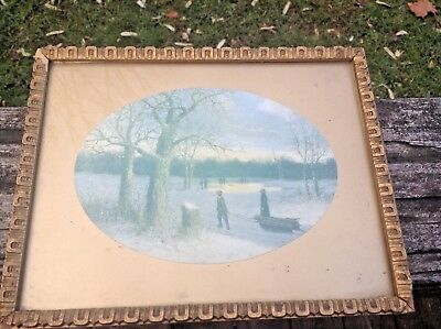 Antique Small Wood Gold Gesso Picture Frame w/Vintage Print-Smith Bros. CA.-Old