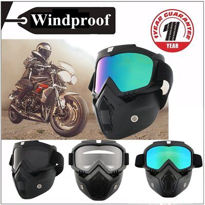 Detachable Motorcycle Helmet Anti-UV Goggles Shield Windproof Riding Face Mask F