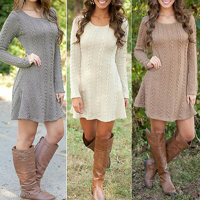 Women Knitted Sweater Jumper Mini Dress Casual Party Evening Long Sleeve Dresses