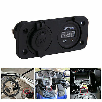 12V LED Waterproof Socket Power Outlet Volt Meter Panel Mount Voltmeter 2FK