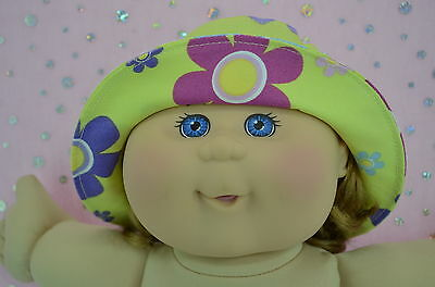 """Play n Wear Doll Clothes To Fit 14"""" Cabbage Patch YELLOW/FLOWER DRILL SUN HAT"""
