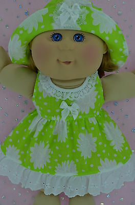 "Play n Wear Doll Clothes For 14"" Cabbage Patch LIME/WHITE FLOWER DRESS~HAT"