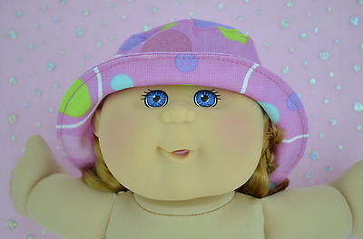 "Play n Wear Doll Clothes To Fit 14"" Cabbage Patch CANDY PINK/SPOT DRILL SUN HAT"