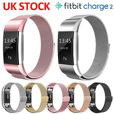 Magnetic Milanese Loop Stainless Steel WatchBand Strap For Fitbit Charge 2 Smart