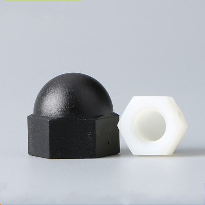 Nylon Hexagon Dome Nuts Acorn Cap For Metric Bolts Screws Black/white M3-M12