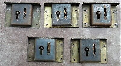 Vintage Solid Brass 5 Piece Lot Cabinet Cupboard Locks Stamped H.a.s. 16112/07