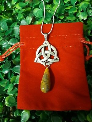 Silver Celtic Triquetra Trinity Knot Yellow Crazy Lace Agate Pendant Necklace