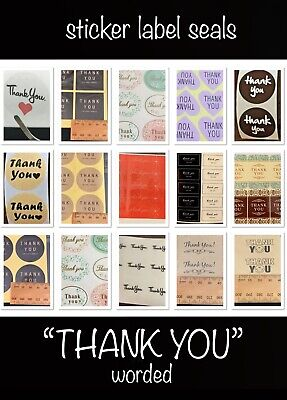 """🇦🇺🎁~24/48 """"Thank You"""" Theme Sticker Gift Labels/Seals~Craft/Favours/Packaging"""