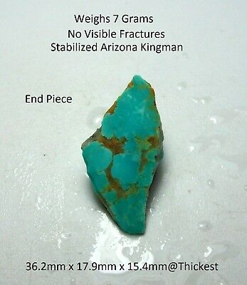 Turquoise Rough-Stabilized Arizona Kingman Blue/Green-Slab/Cab/Wrap