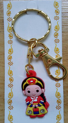 Key Chain Mini Korea Doll Hanbok Nation Dress Silicone Rubber Free Shipping