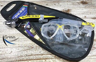 Cressi Schnorchelset Marea Maske + Alpha Ultra Dry in clear/yellow ! NEU !