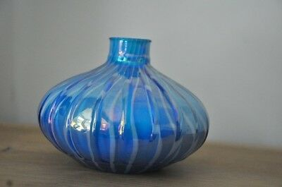 Vintage art glass blue white opaline and white cased murano