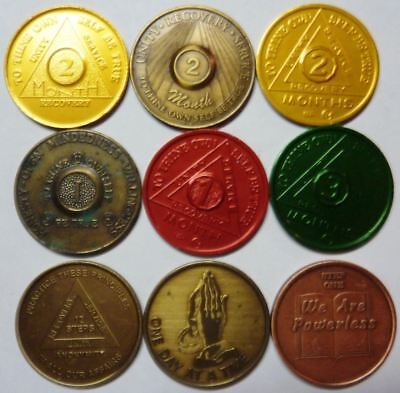 LOT OF 9 AA bronze alcoholics anonymous sobriety chip coin token medallion !!!
