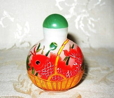Gorgeous Late 19th C / Early 20th Antique Hand Painted Koi Glass Snuff Bottle