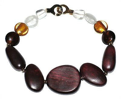 Huge Francesca Romana Diana Chunky Statement Wood & Murano Glass Necklace Runway