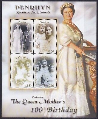 Penrhyn Mi-Nr. 595 - 598 KB **, Queen Mom - 100th Birthday (14 ME)