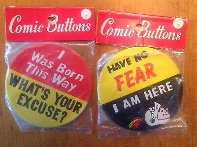 2 Large 1950's Vintage COMIC Humorous PINBACK BUTTONS Original Pkg NOS Japan Pin