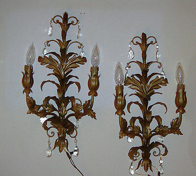 Vtg Wall Sconce, Pair of Crystal Sconces, Gold Metal Sconces w Crystals, Italian
