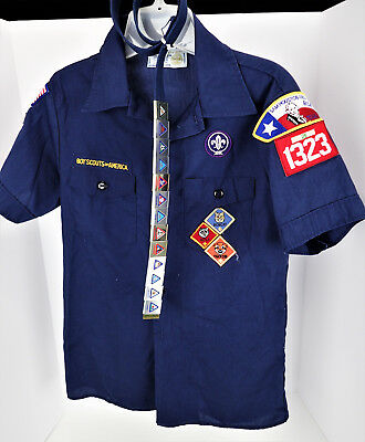 Youth Large Boy Scout Shirt & Patches Cub Belt & 13 Badge Slides: No Buckle