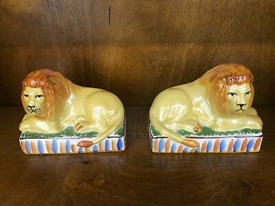 New Staffordshire Style Pair of Laying Lions Ceramic Decorative