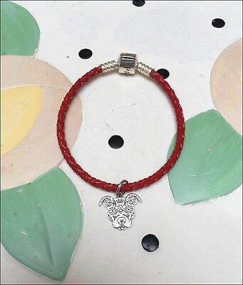 Smiling Pit Bull Silver Charm on Red Leather Bracelet - New - FREE SHIPPING