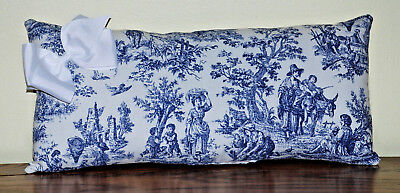 Pillow Oblong Waverly Country Life Rustic Navy Blue Toile Cotton Handmade-Trim