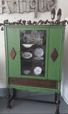 Vintage Olive Green China Cabinet Distressed Aged Dark Glaze Antique Hutch