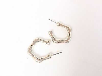 Vintage Bamboo Design Pierced Earring Hoops Style Gold Tone Retro Fashion
