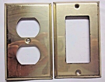 2 vintage retro shiny brass plated steel outlet & GFI or switch wall plate cover