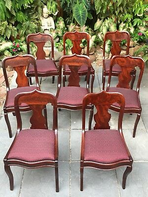 Eight Antique Empire Classical Dining Chairs Gothic back, New Horsehair Seats