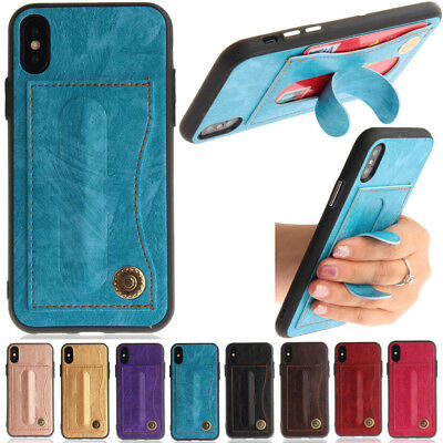 New Card Slot Holder Skin Leather Case Phone Back Cover For iPhone Samsung Huawe