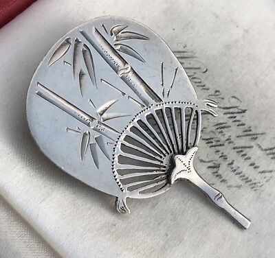 Antique Victorian Sterling Silver Aesthetic Chinese /japanese Fan Brooch /pin