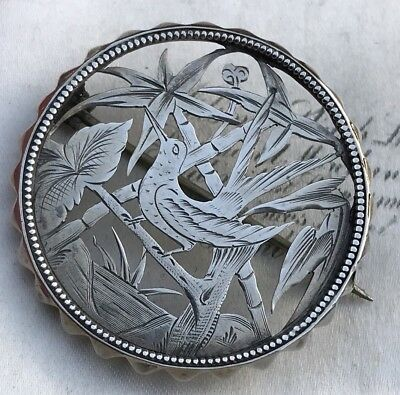 Victorian Antique Sterling Silver Aesthetic Bird Of Paradise Brooch /pin