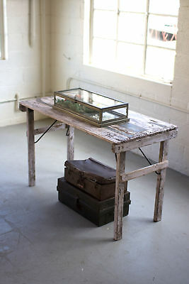 Rustic Vintage Distressed Recycled Reclaimed Wood Folding Table Antique White