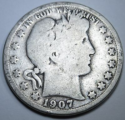 1907-O G-VG US 50 Cent Silver Barber Half Dollar Old Antique Currency Money Coin